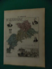 HAUTE GARONNE CARTE ATLAS MIGEON Edition 1885, Carte + fiche descriptive