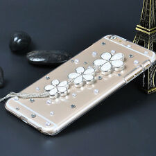 Flowers Bling Crystal Diamonds Soft TPU Gel Silicone Back Phone Cover Case #2