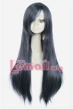 Lemail New 80cm long blue&grey straight side bang cosplay party hair wig CW280B