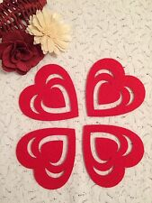 4 RED FELT LOVE HEART COASTERS