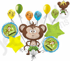 11pc Monkey Balloon Bouquet Decoration Jungle Barnyard Birthday Party Animal Fun