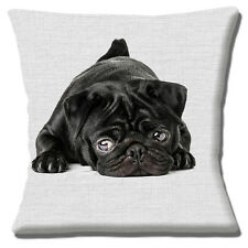 "CUTE BLACK PUG PUPPY DOG PHOTO PRINT GREY PRINT TEXTURE 16"" Pillow Cushion Cover"