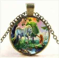NEW Vintage Mermaid and Unicorn Cabochon Glass Bronze Chain Pendant Necklace