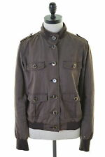 TOMMY HILFIGER Womens Bomber Jacket Size 14 Medium Brown Cotton Polyester