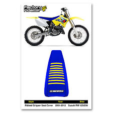 2001-2016 SUZUKI RM 125/250 All Blue with Yellow RIBBED SEAT COVER By Enjoy MFG