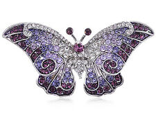 US Empress Monarch Purple Winged Butterfly Crystal Rhinestone Pin Brooch