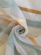 12 Metres Sheer Quality Voile Curtain Fabric With Horizontal Chenille Stripes