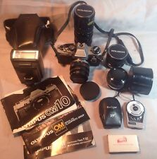 Olympus OM10 35mm Camera 4 Olympus / Soliger Lens Flash Case Manual Lots More