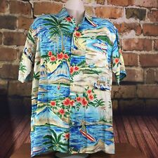 Vintage Mens Tommy Hilfiger Hawaiin Surfer Floral Button Front Shirt EUC M