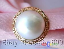 p787 HUGE REAL 20MM WHITE SOUTH SEA MABE PEARL 14K GOLD RING