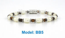 High power magnetic black hematite with Tiger's-eye stone beads bracelet