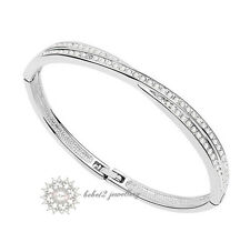 18ct/18K WGP Clear Swarovski Crystals Cross Design Bangle/Bracelet/RGB030S