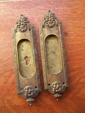 Two Antique Fancy Brass Pocket Door Pulls - Yale & Towne c1885