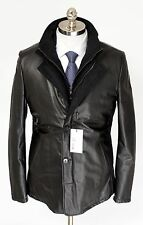 Mens DI BELLO Italy Black Leather Cashmere Zip Car Coat 4Btn Jacket 52 L 42 NWT