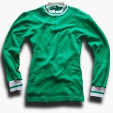 "VINTAGE GREEN & WHITE LONG SLEEVE ACRYLIC CYCLING JERSEY 33-35"" CHEST (LABEL: 1)"