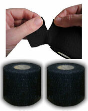 Tearable Black Line-Out Sports Rugby Elastic Adhesive Tape 5cm x 6.9m 2 Rolls