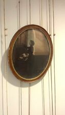 Vintage Turn-of-the-Century Large-Format Print of Woman at Organ – Oval Frame