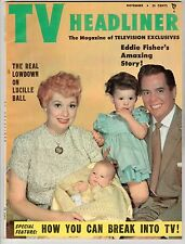 TV HEADLINER LUCILLE BALL DESI ARNAZ & FAMILY ON COVER NOVEMBER 1953 EX+ RARE!!