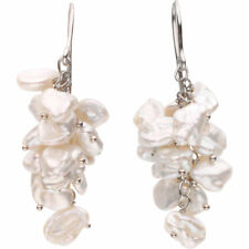 Genuine Keshi Freshwater Pearl Triple Strand Sterling Silver Dangle Earrings