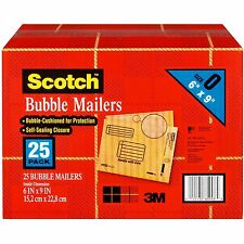 "New 25 Pack Size 0 3M Scotch Bubble Mailers 6"" x 9"" Padded Mailing Envelopes"
