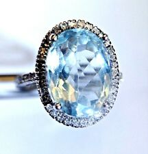 Natural 5.20 CT Aquamarine and Diamond  Halo 14K White Gold Ring Size 8.25