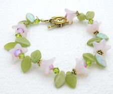 Vintage Gold Tone Pink Crystal Glass Flower Leaf Bead Beaded Bracelet