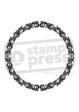 A7 'Circular Floral Border' Unmounted Rubber Stamp (SP004074)