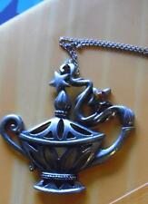 Pewter GENIE LAMP w/ Cabachon crystal PENDANT (8.8 g tw) with STERLING CHAIN