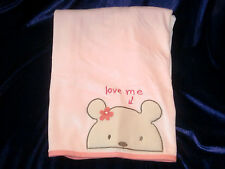 Carters Classics All About Bear Pink Love Me Baby Blanket Ribbed Velour