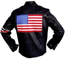 "100% REAL Sheep , Peter Fonda Easy Rider Leather Jacket  "" With US FLAG """