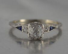 Art Deco 14K .50ct Diamond and Trillion Sapphire Ring Size 6.5 EUC w/ appraisal