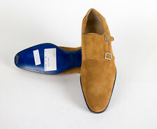 New SUTOR MANTELLASSI Brown Suede Leather Double Monkstrap Shoes Size 9 US $850