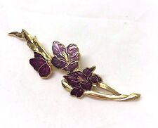 Vintage Signed Fish  Cloisonne  Butterfly And Gladioli  Brooch Pin