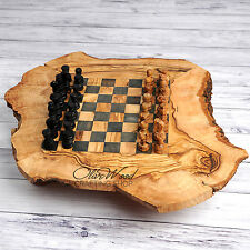 SALE!!! Handmade Rustic Olive Wood Large Chess Board Wooden Handcrafted Wooden