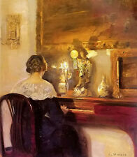 Oil painting carl vilhelm holsoe - a lady playing the spinet & Japanese doll art