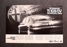 I939- Advertising Pubblicità -1982- ALFA ROMEO ALFASUD TI 105 CV