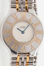 MINT $3000 Cartier MIDSIZE Mens or Ladies 18k Gold SS MUST 21 Watch & BOX