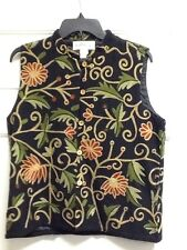 Orvis Vest Black Tan Green Burgundy Embroidered Vines Floral Cotton Rayon Medium