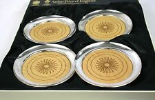 Arthur Price Silver Plated Glass Bottle Drinks Coaster Sun Wooden Set of 4