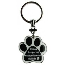 Paw Print Key Chain Fob My Dog has goe me wrapped around his little paw