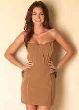 TFNC Coffee Bandeau Peplum Strapless Dress NEW 10-12