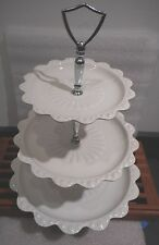 "Vintage TIERED CERAMIC DESERT HORDERVE SERVING PLATES  14"" H"
