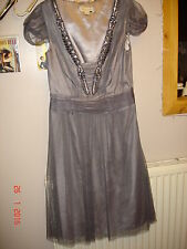 *lush* netted & beaded Monsoon grey dress party/prom/cocktails/bridesmaid size 8