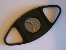 QUALITY BLACK CIGAR CUTTER STAINLESS STEEL DOUBLE TWIN BLADE UK SELLER