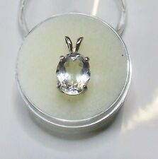Earth-mined Goshenite in a solid sterling silver pendant .. 10 x 8 mm gem