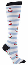 Red, White & Blue Striped Anchor Knee High Socks - Sock It To Me. Free UK P&P