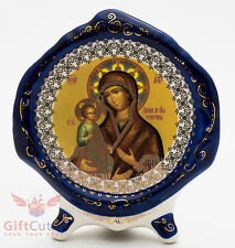 Porcelain gzhel decal plaque Icon Mother of God Theotokos Three-hand Троеручница