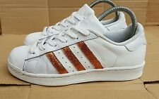 ADIDAS SUPERSTAR TRAINERS WHITE WITH COPPER ROSE GOLD GLITTER SIZE 4 UK STUNNING