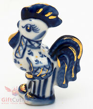 Rooster in shirt gzhel porcelain figurine symbol of 2017 new year handmade