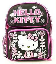 "Hello Kitty Flowers Girls 14"" Full size Backpack School Bag and Book bag -New!!!"